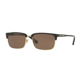 Brooks Brothers Mens's BB5035S 613073 55 Black/Gold Plastic Rectangle Sunglasses - Brown
