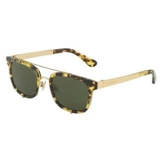 Dolce & Gabbana Oval Dg2175 296971 Mens Yellow Frame Green Lens Sunglasses