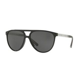 Burberry Mens's BE4254 300187 58 Black Plastic Aviator Sunglasses - Grey