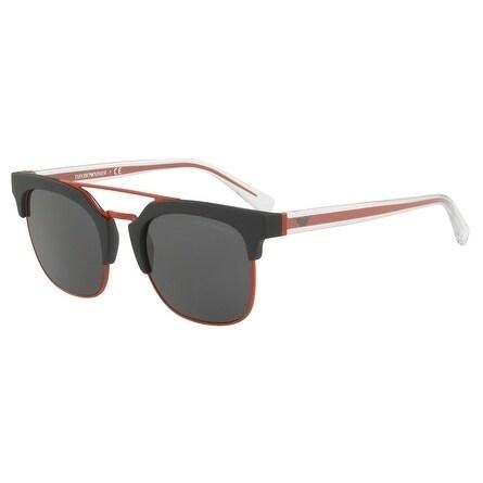 44774c2d2ce9 Emporio Armani Square Ea4093 504287 Mens Black Frame Grey Lens Sunglasses