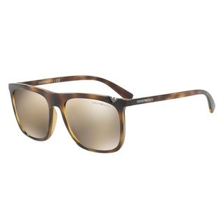 Emporio Armani Mens's EA4095 50265A 56 Light Brown Mirror Gold Square Sunglasses