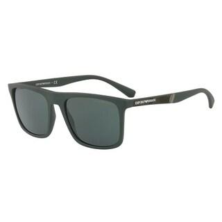 Emporio Armani Mens's EA4097 557471 56 Grey Green Square Sunglasses