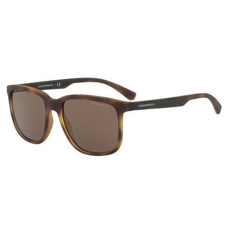 23972283ba51 Shop Emporio Armani Square Ea4104F 559473 Mens Havana Frame Brown Lens  Sunglasses - Free Shipping Today - Overstock - 17911186