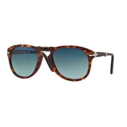 Persol Aviator Po0714 24/S3 Mens Havana Frame Blue Lens Sunglasses