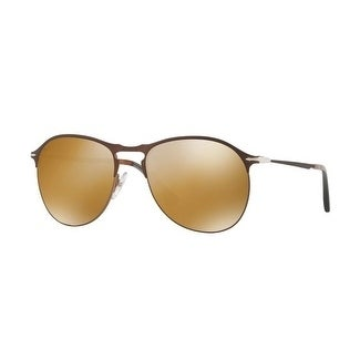 c67a659ec6cfb Shop Persol Mens s PO7649S 1072W4 56 Light Brown Mirror Gold Metal Aviator  Sunglasses - Free Shipping Today - Overstock - 17911291