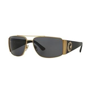 Versace Mens's VE2163 100281 63 Polar Grey Plastic Rectangle Sunglasses
