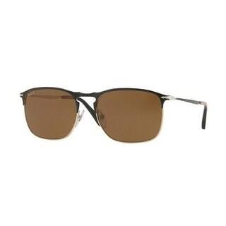 Persol Mens's PO7359S 107057 58 Polar Brown Metal Aviator Sunglasses