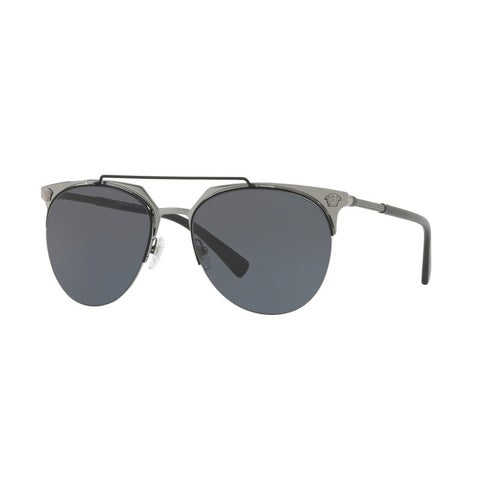 Versace Aviator Ve2181 100187 Mens Black Frame Grey Lens Sunglasses