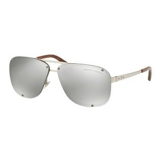Ralph Lauren Mens's RL7055 90306G 64 Gray Silver Mirror Metal Aviator Sunglasses