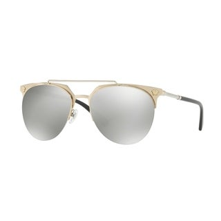 Versace Mens's VE2181 12526G 57 Light Grey Mirror Silver Plastic Aviator Sunglasses