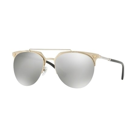 3ced36d5f582 Shop Versace Aviator Ve2181 12526G Mens Gold Frame Grey Lens Sunglasses -  Free Shipping Today - Overstock - 17911354