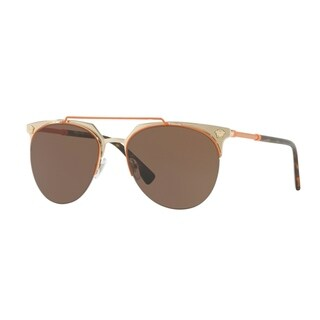 Versace Mens's VE2181 125273 57 Brown Plastic Aviator Sunglasses