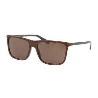 Ralph Lauren Mens's RL8157 539973 58 Brown Metal Rectangle Sunglasses