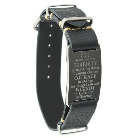 Dakota Leather Band Bracelet with Serenity Prayer Engraved ID Plate