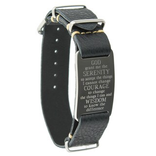 Dakota Leather Band Bracelet with Serenity Prayer Engraved ID Plate