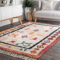nuLOOM Handmade Gabbeh Tribal Drawings Diamond BorderTassel Ivory Shag Rug (7'6 x 9'6)