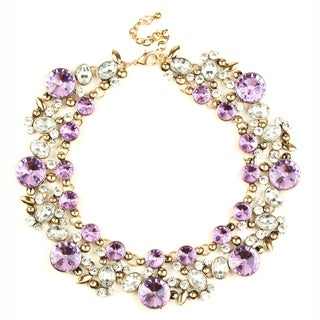 Eye Candy LA Clementine Bib Statement Necklace Purple