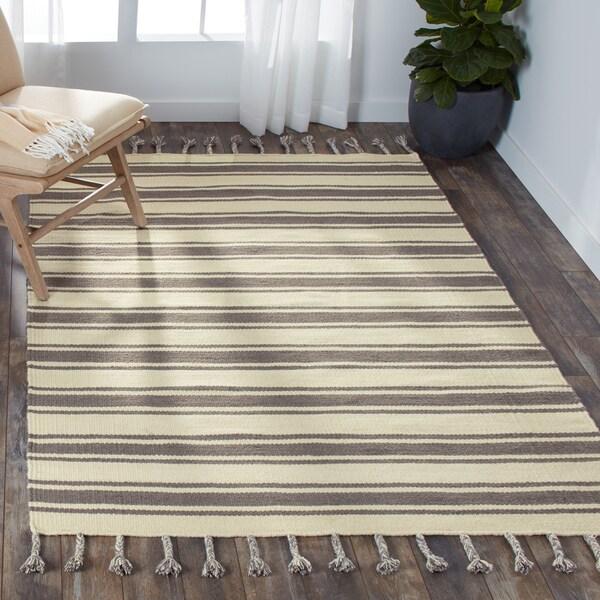 Nourison Solano Ivory/Grey Wool/Cotton Area Rug - 5' x 7'6