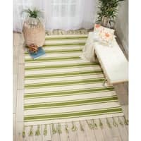 Nourison Solano Ivory/Green Wool/Cotton Area Rug - 5' x 7'6