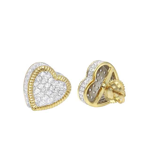 dd73f2866fcae8 Luxurman Solid 14K Gold Large Heart Diamond Stud Earrings for Women 1ct