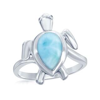 La Preciosa Sterling Silver High Polish Natural Larimar Stone Sea Turtle Ring - Blue