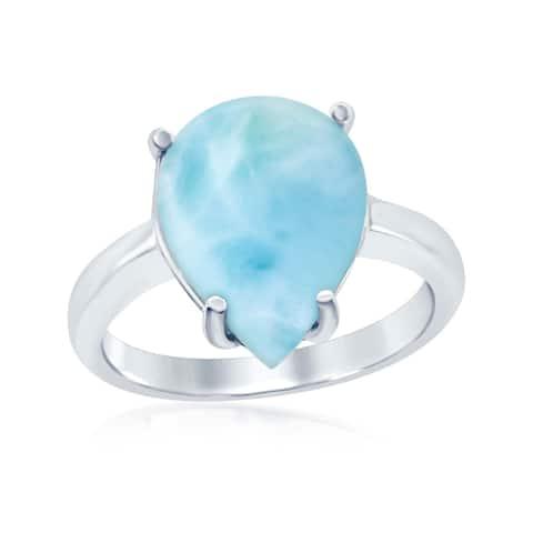 La Preciosa Sterling Silver High Polish Natural Larimar Stone Four Prong Teardrop Ring - Blue