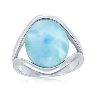 La Preciosa Sterling Silver High Polish Natural Oval Larimar Stone Ring - Blue