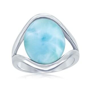 La Preciosa Sterling Silver High Polish Natural Oval Larimar Stone Ring - Blue (4 options available)