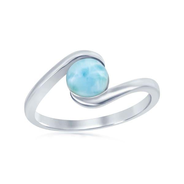 La Preciosa Sterling Silver Natural Round Larimar Stone Swirl Design Ring - Blue
