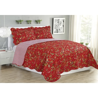 Crimson Garden Jennifer 3 Piece Quilt Set