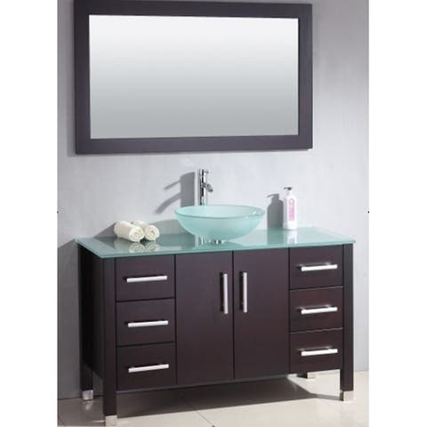 48 inch Wood & Glass Vessel Vanity Set with Polished Chrome faucet.
