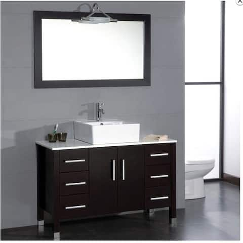 48 inch Wood & Porcelain Vessel Vanity Set with Polished Chrome faucet.