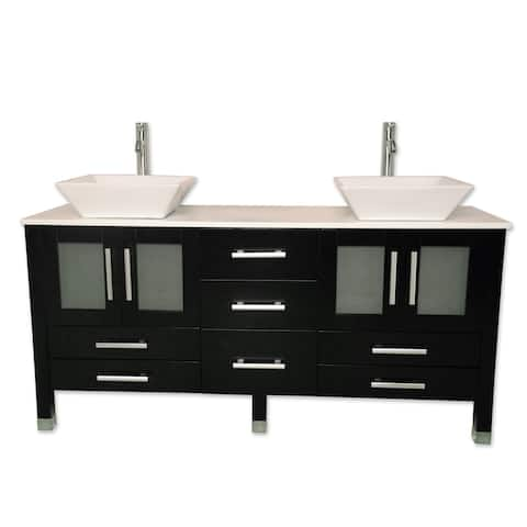 63 inch Wood & Porcelain Double Vanity Set with Polished Chrome faucet.