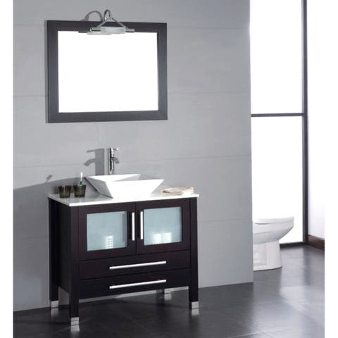 36 inch Wood & Porcelain Vessel Vanity Set with Polished Chrome faucet.