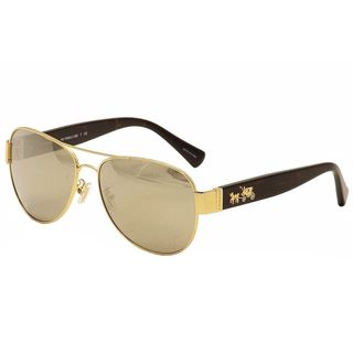 Coach Aviator HC 7059 92385A Women's Tortoise Gold Frame Gold Lens Sunglasses