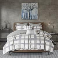 INK+IVY Sterling Plaid Blue/ Grey Cotton Sateen Printed Comforter Mini Set