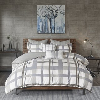 INK+IVY Sterling Plaid Blue/ Grey Cotton Sateen Printed Comforter 3-Piece Set