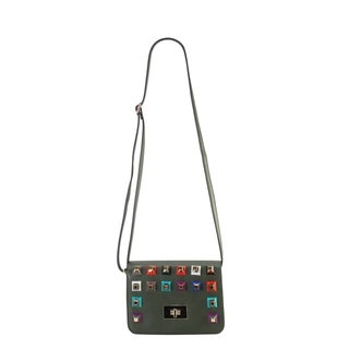 Diophy PU Leather Colorful Solid Studded Cross Body Handbag