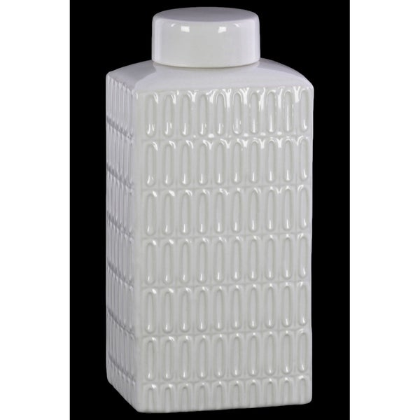 UTC46313: Ceramic Rectangle 160 oz. Tall Jar with Lid and Embossed Oval Patterns Design Body Gloss Finish White