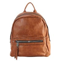 Rimen & Co. PU Leather Front Zipper Pocket Large Backpack