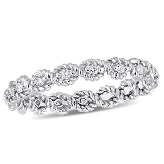 Miadora Signature Collection 10k White Gold 1 6ct TDW Diamond Infinity Eternity Band