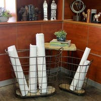 UTC26488: Metal Oval Wire Basket with Mesh Design Sides, Side Handles, Wooden Surface and 4 Casters Set of Two
