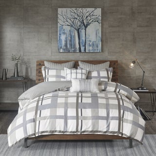INK+IVY Sterling Plaid Blue/ Grey Cotton Sateen Printed Duvet Cover 3-Piece Set