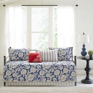 Madison Park Georgia Navy Printed 6 Pieces Cotton Twill Reversible Daybed Cover Set