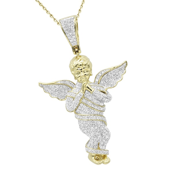 Shop luxurman 10k gold diamond baby angel pendant for men 13ct on luxurman 10k gold diamond baby angel pendant for men 13ct aloadofball Images