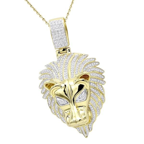 Shop Luxurman Unique 10K Gold Lion Head Diamond Pendant for Men 0.9 ... ca118f2e07