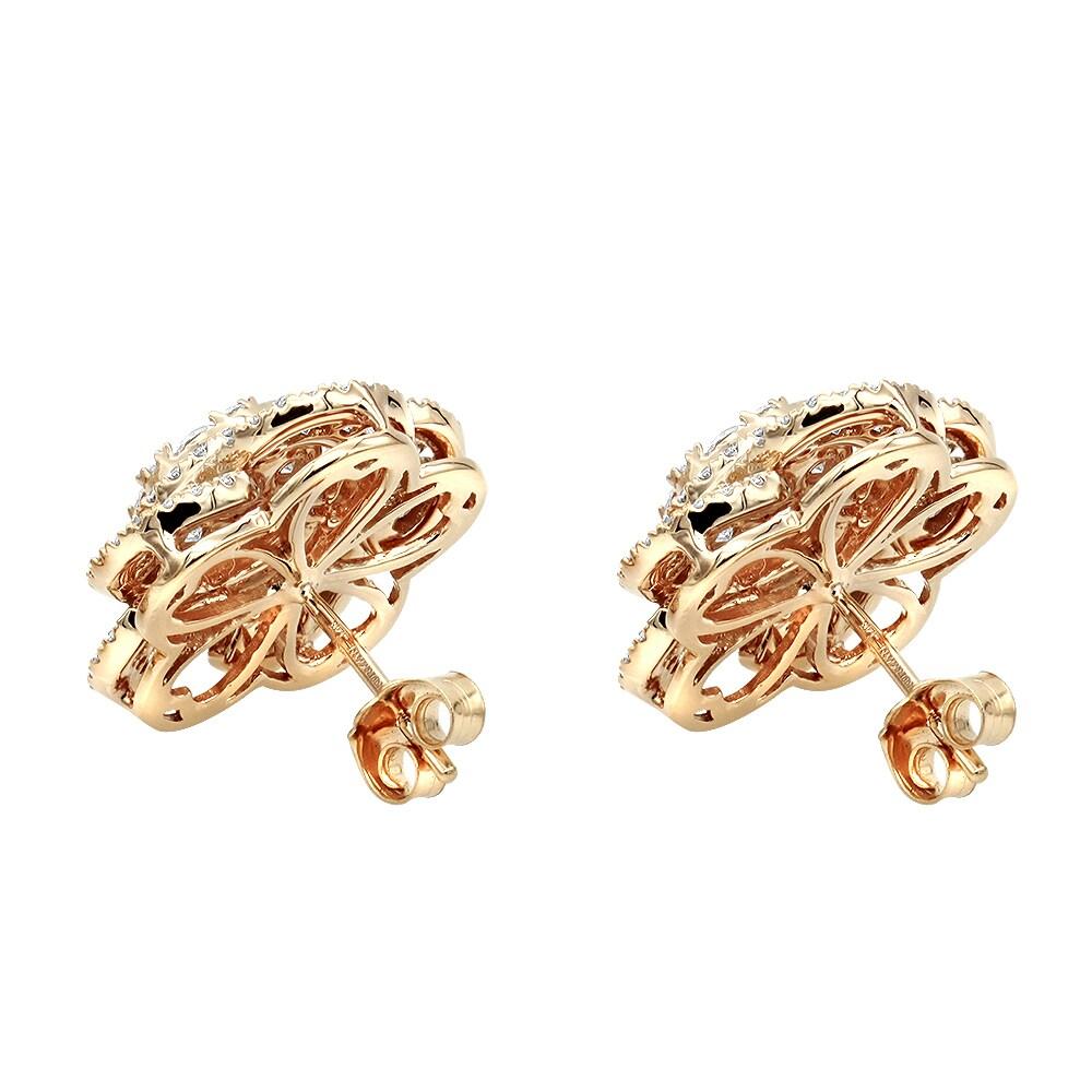 Luxurman 14k Gold Designer Diamond Flower Las Stud Earrings 3ct