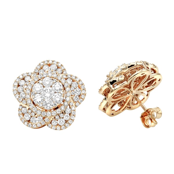 bdcc6de6290b9 Shop Luxurman 14K Gold Designer Diamond Flower Ladies Stud Earrings ...