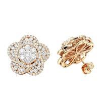 Luxurman 14K Gold Designer Diamond Flower Ladies Stud Earrings 3ct