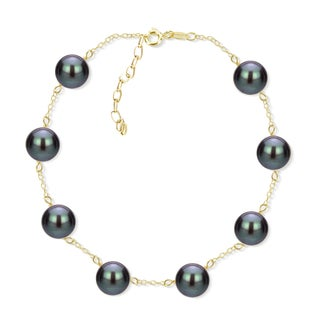 DaVonna 18k Yellow Gold Plated Silver 8-8.5 mm Freshwater Cultured Tin Cup Pearl Bracelet 7.5 inch + 1 inch Extension. (Option: Black)